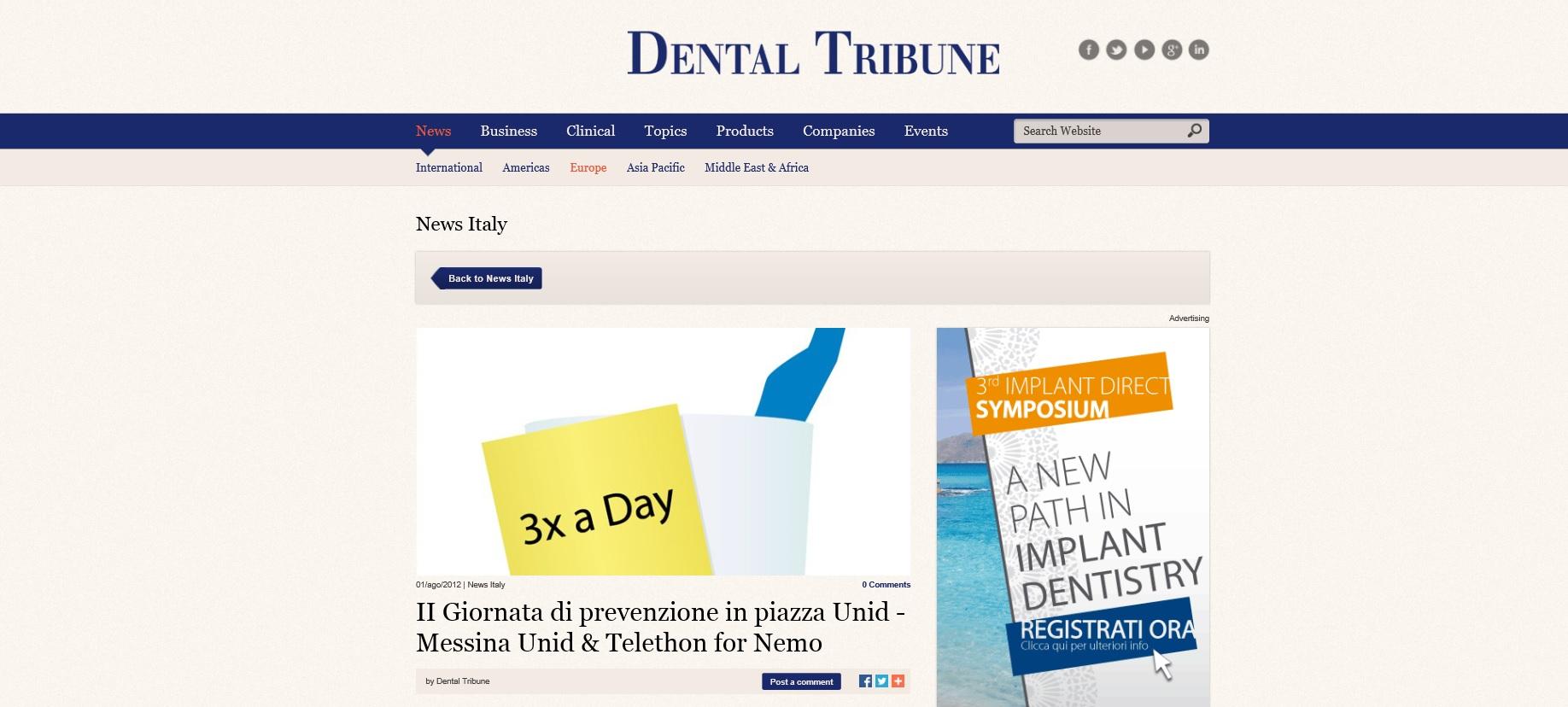 """Dental Tribune su """"Giornata di prevenzione in piazza U.N.I.D. & Telethon"""""""