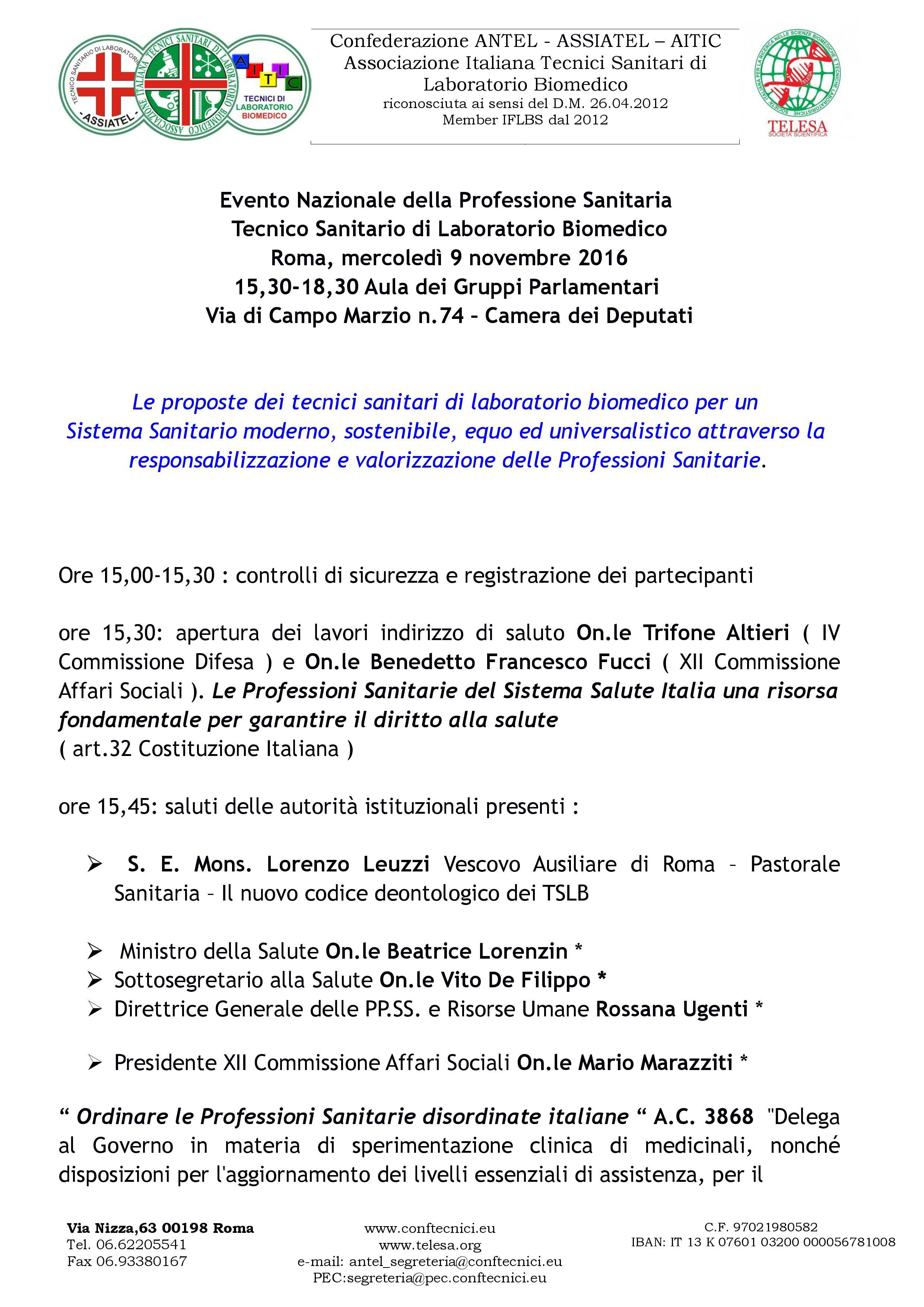 Evento Nazionale della Professione Sanitaria Tecnico Sanitario di Laboratorio Biomedico Roma, mercoledì 9 novembre 2016