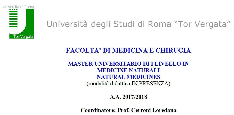 Master universitario di i livello in medicine naturali