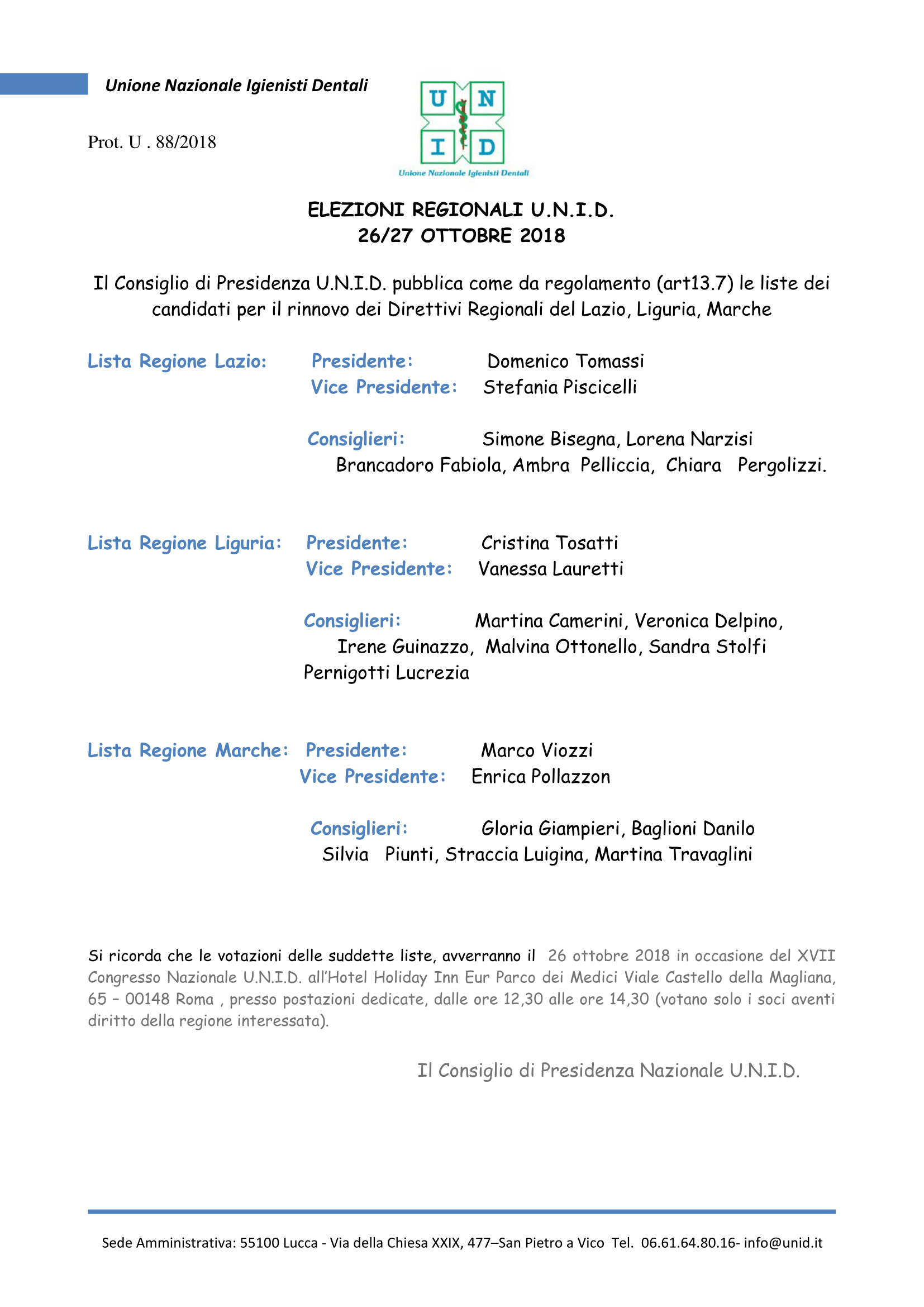 Comunicatto lista elezioni Regionali U.N.I.D 2018-1